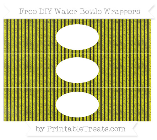 Free Yellow Thin Striped Pattern Chalk Style DIY Water Bottle Wrappers