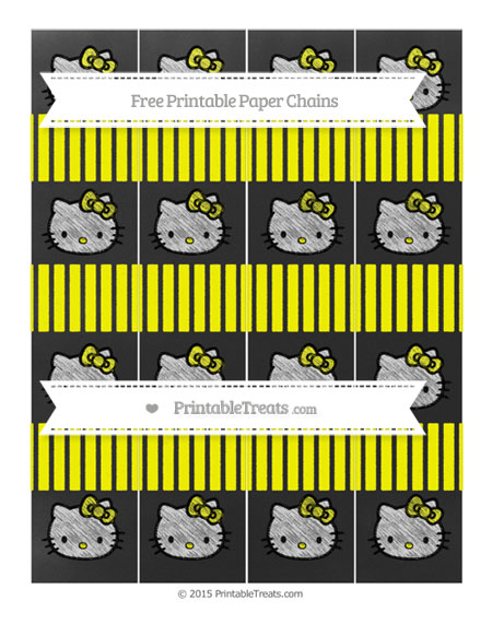 Free Yellow Thin Striped Pattern Chalk Style Hello Kitty Paper Chains