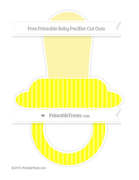 Free Yellow Thin Striped Pattern Extra Large Baby Pacifier Cut Outs