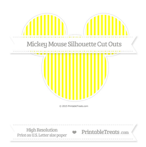 Free Yellow Thin Striped Pattern Extra Large Mickey Mouse Silhouette Cut Outs