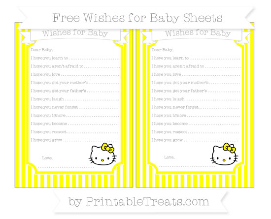 Free Yellow Thin Striped Pattern Hello Kitty Wishes for Baby Sheets