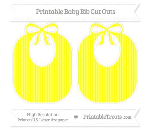 Free Yellow Thin Striped Pattern Large Baby Bib Cut Outs