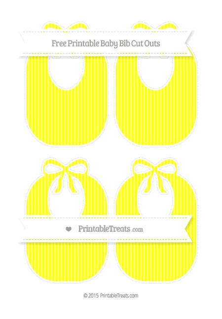 Free Yellow Thin Striped Pattern Medium Baby Bib Cut Outs