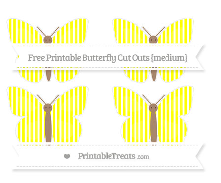 Free Yellow Thin Striped Pattern Medium Butterfly Cut Outs