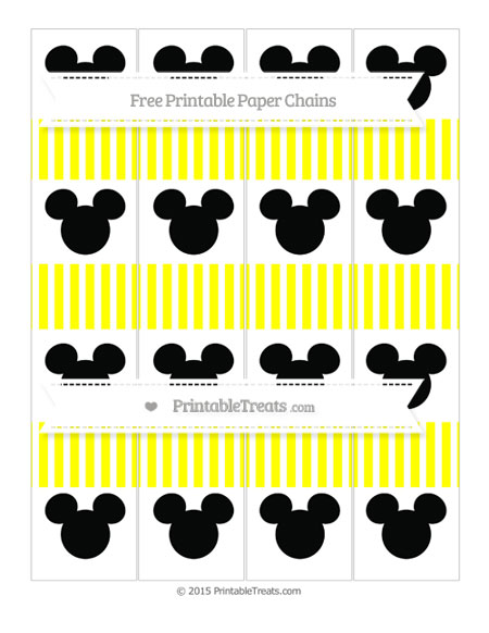 Free Yellow Thin Striped Pattern Mickey Mouse Paper Chains
