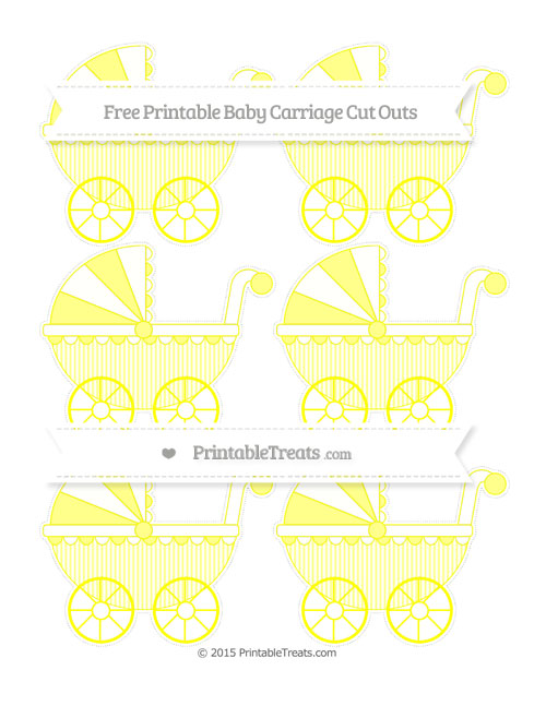 Free Yellow Thin Striped Pattern Small Baby Carriage Cut Outs