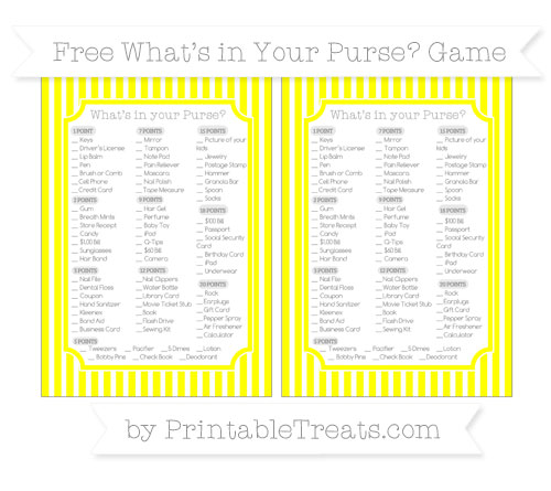 Free Yellow Thin Striped Pattern What's in Your Purse Baby Shower Game