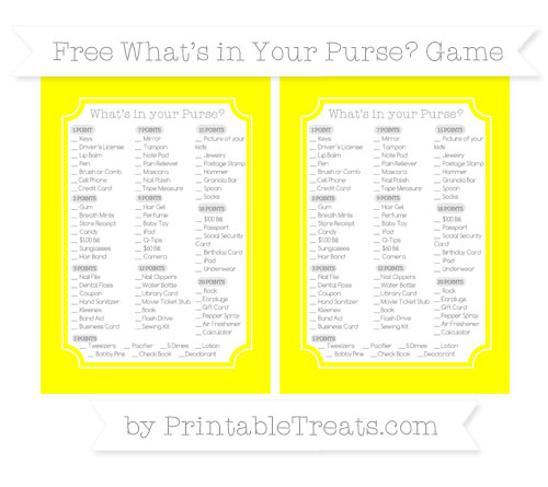 Free Yellow What's in Your Purse Baby Shower Game