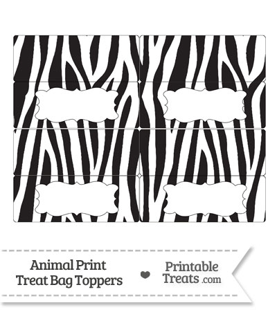 Free Zebra Print Treat Bag Toppers from PrintableTreats.com