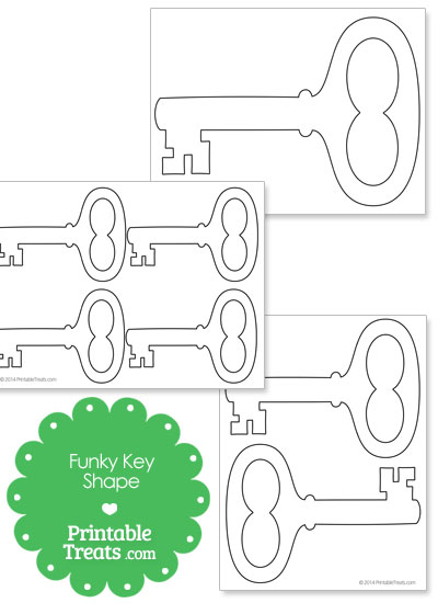 Printable Funky Key Shape from PrintableTreats.com