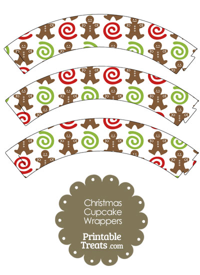 Gingerbread Cookie Cupcake Wrappers from PrintableTreats.com