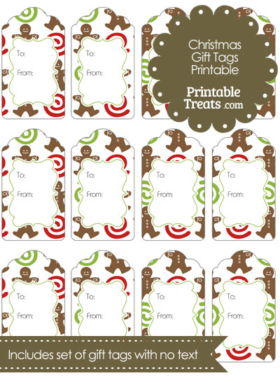 Gingerbread Cookie Gift Tags from PrintableTreats.com
