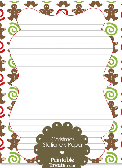 Gingerbread Cookie Stationery Paper from PrintableTreats.com