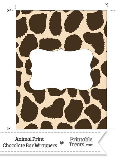 Giraffe Print Chocolate Bar Wrappers from PrintableTreats.com