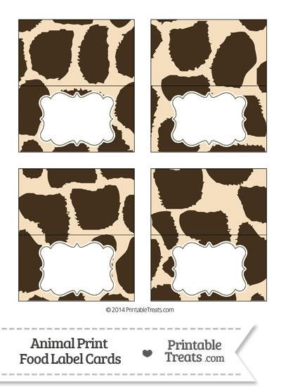 Giraffe Print Food Labels from PrintableTreats.com