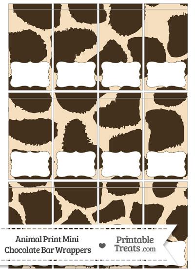 Giraffe Print Mini Chocolate Bar Wrappers from PrintableTreats.com