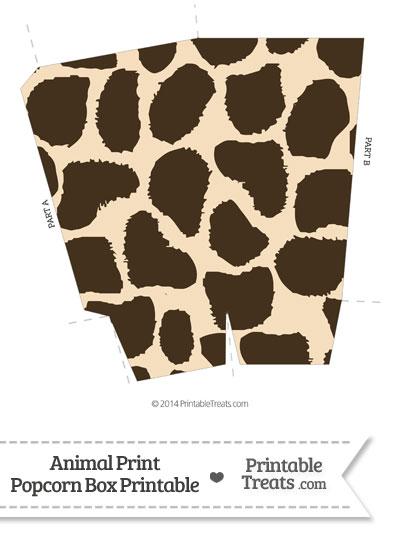 Giraffe Print Popcorn Box from PrintableTreats.com