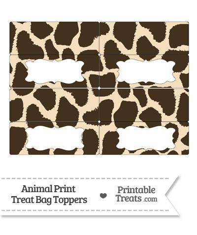 Giraffe Print Treat Bag Toppers from PrintableTreats.com