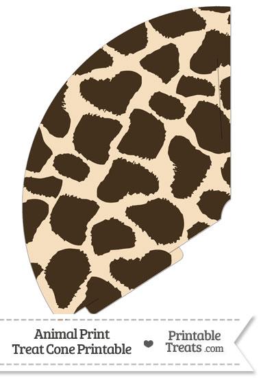 Giraffe Print Treat Cone from PrintableTreats.com
