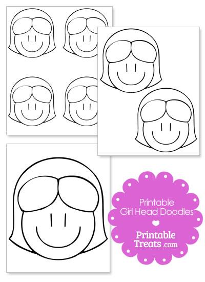 Girl Head Cartoon Doodle Template from PrintableTreats.com