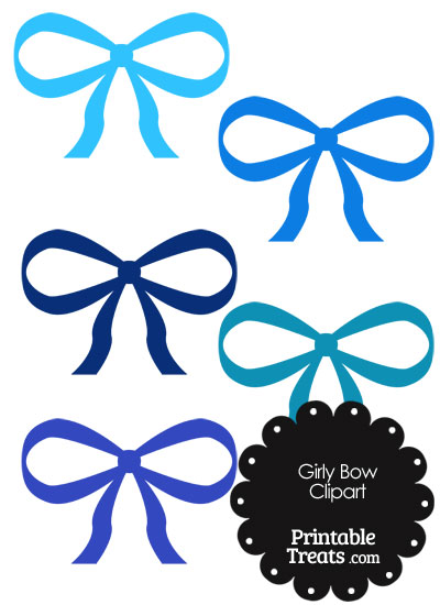 Girly Bow Clipart in Shades of Blue from PrintableTreats.com