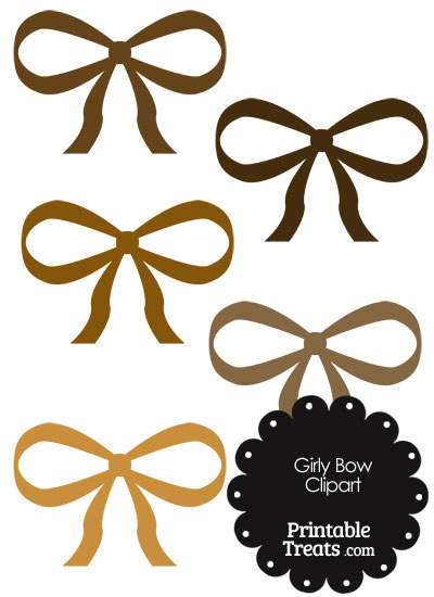 Girly Bow Clipart in Shades of Brown from PrintableTreats.com