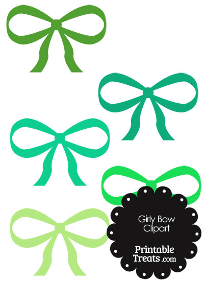 Girly Bow Clipart in Shades of Green from PrintableTreats.com