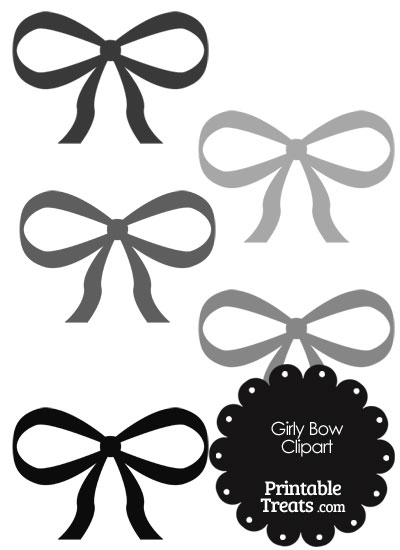Girly Bow Clipart in Shades of Grey from PrintableTreats.com
