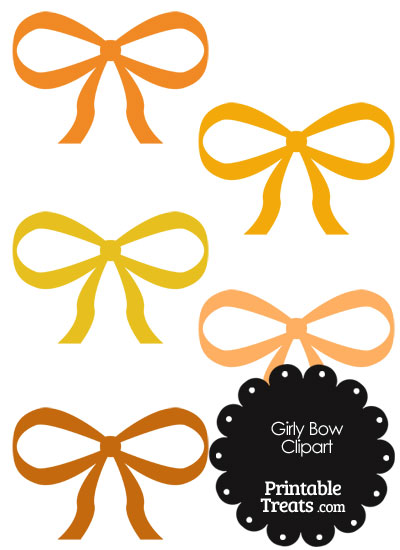 Girly Bow Clipart in Shades of Orange PrintableTreats.com