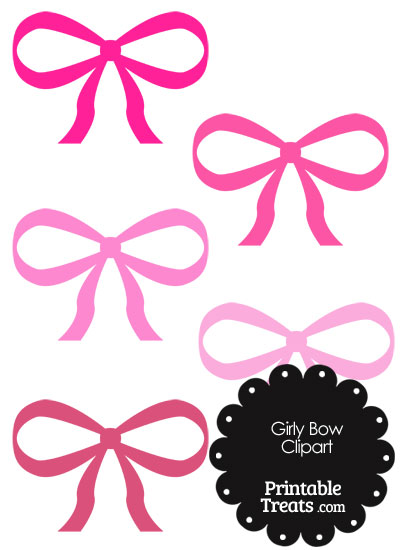 Girly Bow Clipart in Shades of Pink from PrintableTreats.com
