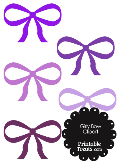 Girly Bow Clipart in Shades of Purple from PrintableTreats.com