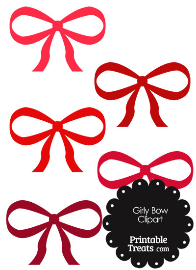 Girly Bow Clipart in Shades of Red from PrintableTreats.com