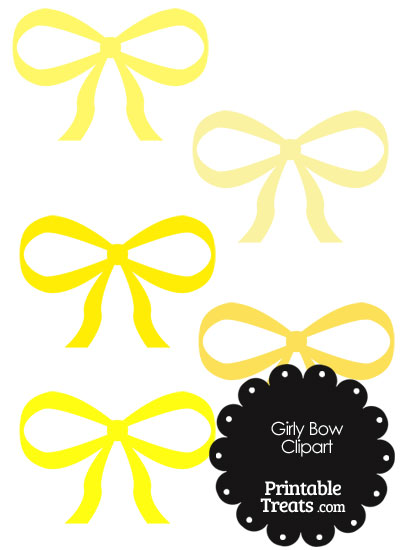 Girly Bow Clipart in Shades of Yellow PrintableTreats.com