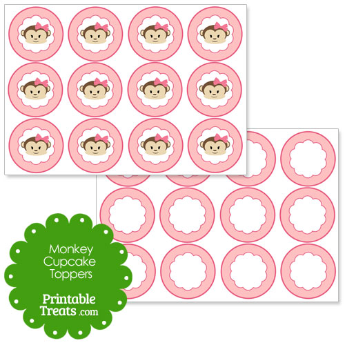 girly monkey cupcake toppers with pink background