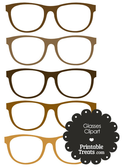 Glasses Clipart in Shades of Brown from PrintableTreats.com