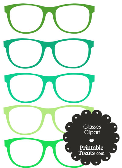 Glasses Clipart in Shades of Green from PrintableTreats.com
