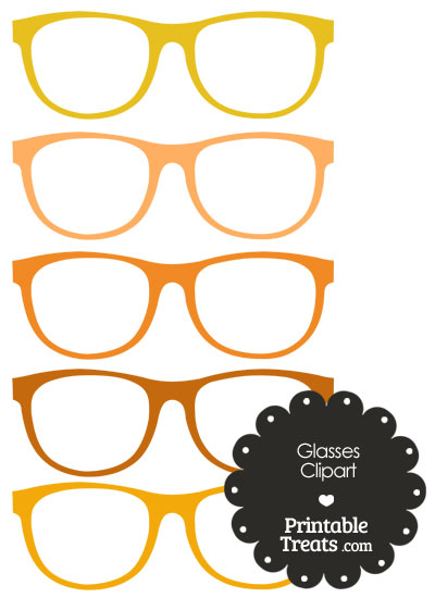 Glasses Clipart in Shades of Orange from PrintableTreats.com