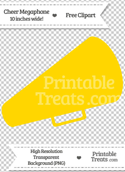Gold Cheer Megaphone Clipart from PrintableTreats.com