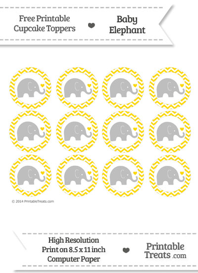Gold Chevron Baby Elephant Cupcake Toppers from PrintableTreats.com