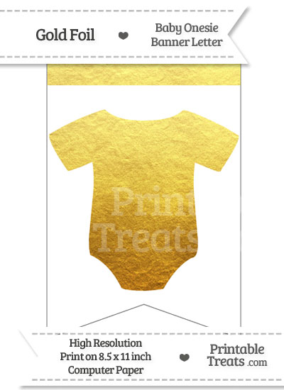 Gold Foil Baby Onesie Bunting Banner Blank from PrintableTreats.com