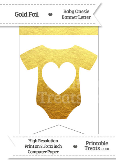 Gold Foil Baby Onesie Bunting Banner Heart End from PrintableTreats.com