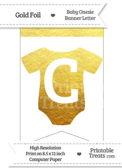 Gold Foil Baby Onesie Bunting Banner Letter C from PrintableTreats.com