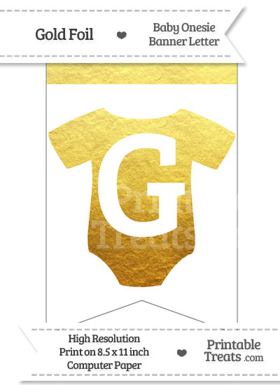 Gold Foil Baby Onesie Bunting Banner Letter G from PrintableTreats.com