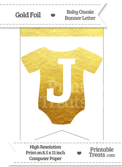 Gold Foil Baby Onesie Bunting Banner Letter J from PrintableTreats.com