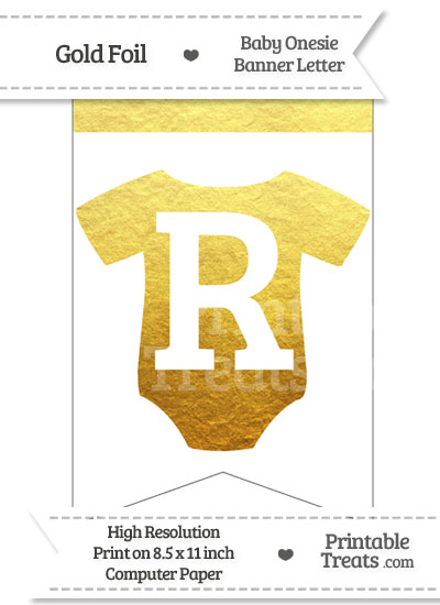 Gold Foil Baby Onesie Bunting Banner Letter R from PrintableTreats.com