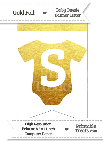 Gold Foil Baby Onesie Bunting Banner Letter S from PrintableTreats.com