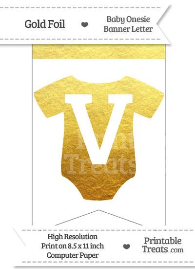 Gold Foil Baby Onesie Bunting Banner Letter V from PrintableTreats.com