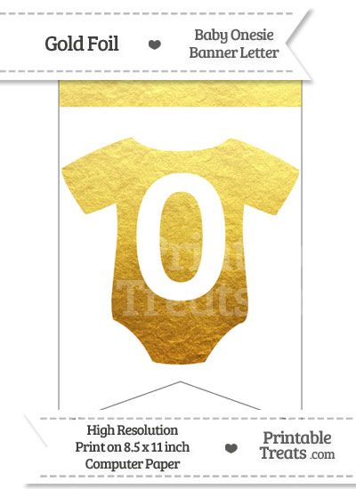 Gold Foil Baby Onesie Bunting Banner Number 0 from PrintableTreats.com