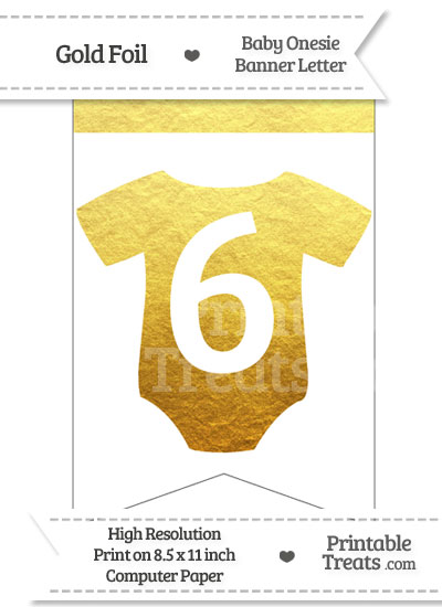 Gold Foil Baby Onesie Bunting Banner Number 6 from PrintableTreats.com