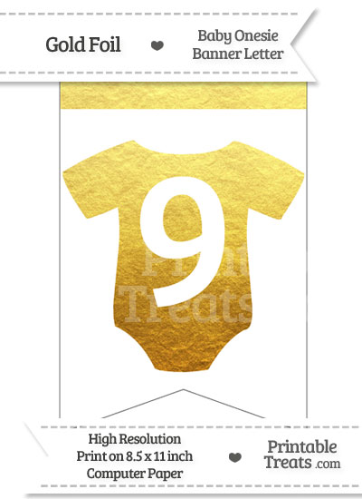 Gold Foil Baby Onesie Bunting Banner Number 9 from PrintableTreats.com